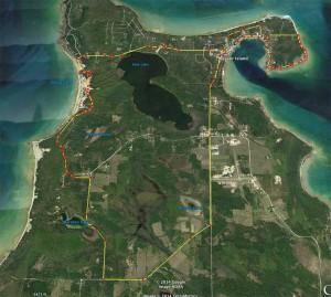 Aerial view of Beaver Island Half Marathon, August 30, 2014